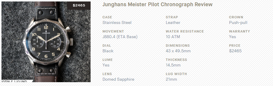 Junghans Meister Pilot Chronograph Review